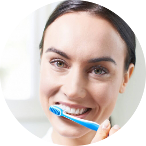 brushing and smiling person